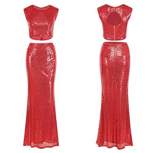 vestido vestido Red mujer de la lentejuelas fiesta de noche de FOLOBE TI40wn