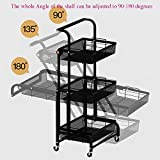 3-Tier Utility Cart with Wheels, Angle Adjustable