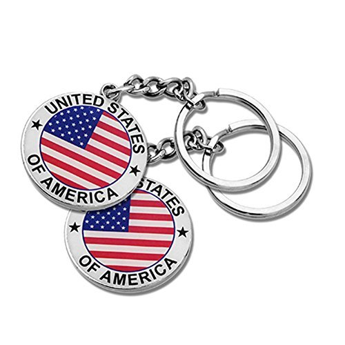 (2x Round USA US American Flag & Patriotic Keychain Ring - Set of 2)
