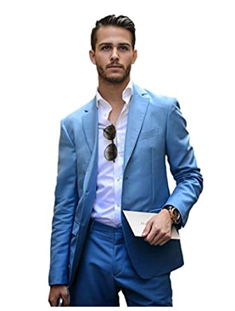 Blue Slim Fit Wedding Suits 2 Pieces Groom Tuxedos Mens Suits Prom ...