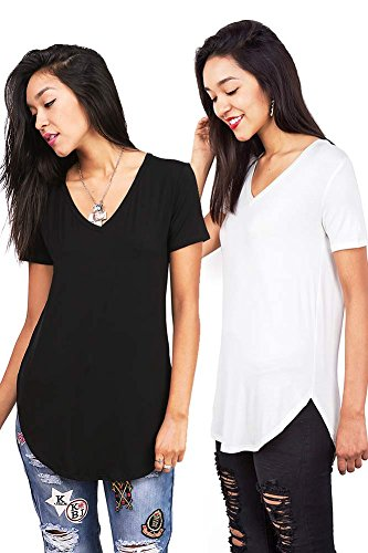 Bundle 2 Items: Emma's Closet Women's Oversize Stretchy V-Neck Tee Bundle (L, Black & Ivory) (Womens Puppy T-shirt V-neck)