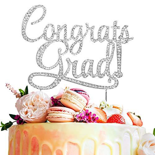 LINGPAR Congrats Grad Metal Rhinestone Cake Topper -
