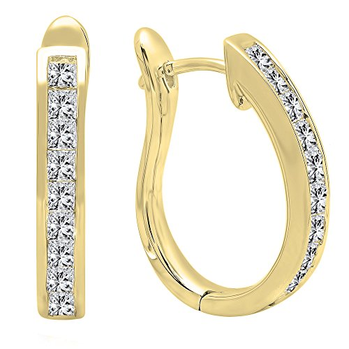 (1.00 Carat (ctw) 18K Yellow Gold Princess Cut Diamond Ladies Hoop Earrings 1 CT)