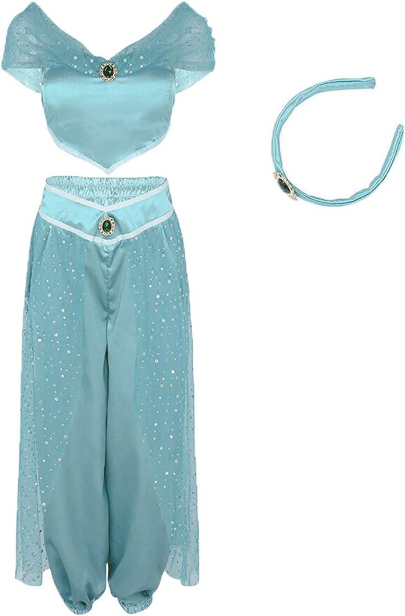 Women Aladdin Jasmine Princess Costumes Fancy Sequin Suit Dress Halloween Party Cosplay