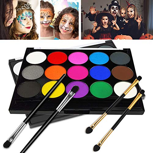 Wolf Face Paint For Halloween (Face Paint, Kids Face Paint, Halloween Makeup Kit, Face Paint Set for Kids, Face Painting Kits, 15 Colors Water Based Paints, Professional Face Paint Palette, Face Paints Safe for Sensitive)