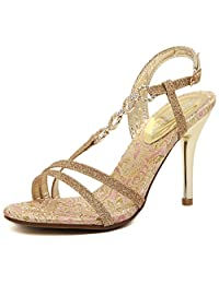 Renly Womens Faux Leather High Heel Sandals Gold