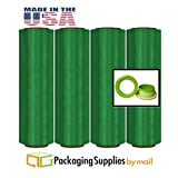 Green Color Stretch Wrap Film Advanced Pre-Stretch w/Folded Edges 17'' x 1476', 8.5 mic 4 Rolls with Dispenser