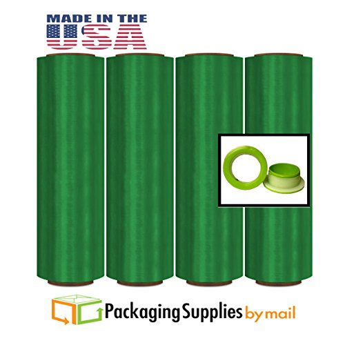 16'' x 1500' x 32 GA ( 8.5 Mic. ) 40 Rolls Green Colored Pre Stretch Wrap Film Hand Wrap + Dispenser by PackagingSuppliesByMail