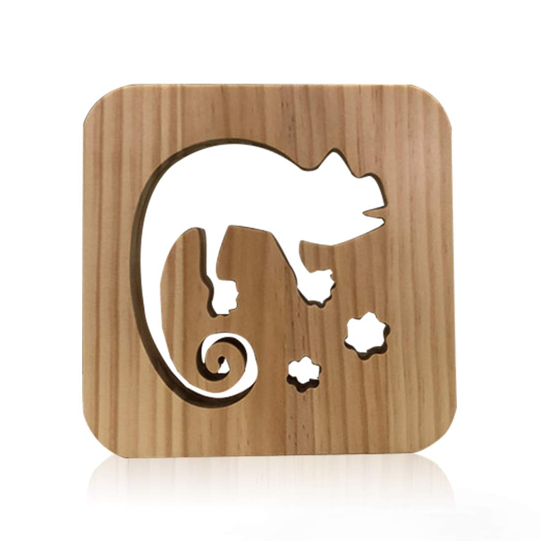 Wooden Chameleon Led Lamp for Children, LeKong 3D Wooden Carving Patterns, USB Plug in, Gift for Birthday & Friendship, Fit for Halloween & Christmas Decoration, 2018 New