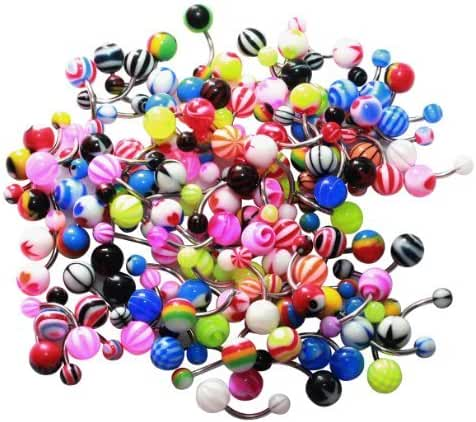 BodyJ4You Assorted Lot of 100 Banana Piercing 14G Belly Button Rings Piercing Jewelry