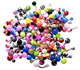 BodyJ4You Belly Ring Assorted Lot of 100 Assorted Navel Rings Steel 14 Gauge (100 Pieces)