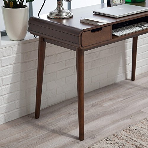 Brown Vintage Wood Writing Desk | Perfect Stylish Mid Century Home Office or College Student Dorm Table for Your Computer, PC, Laptop, Monitor, Books and Supplies by Gramercy Home (Image #4)