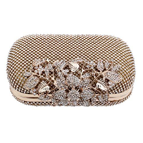 Clutch Small Cross Rhinestones Crystal Evening Ym1020gold Wedding Body Bag Women Handbags Shoulder Full Of Chain 5Uq8vxq0W