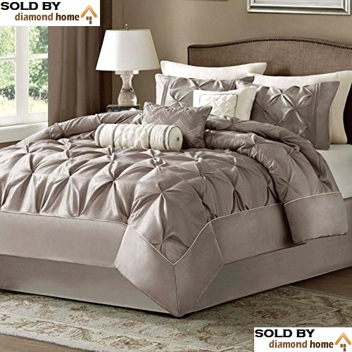 Queen Size Comforter Set in Luxury Bedding Collection - 7 Piece, Taupe, Pinch Pleat Pattern, Plush Soft Heavenly Comfort, Light Cream Beige Comforter for Master Bedroom