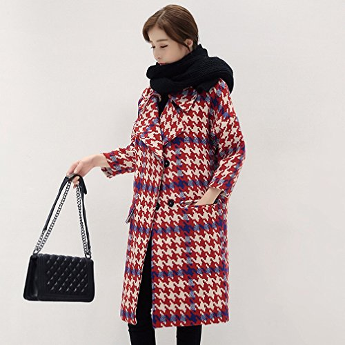 LD Autumn and Winter Coat of Women in the Long Lattice Thick Plaid Cocoon Type Woolen Coat Red
