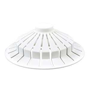 DANCO Bathroom Bathtub Hair Catcher Strainer Drain Cover with Suction Cup Design, White, 4 inch x 1.5 inch, 1-Pack (10771)