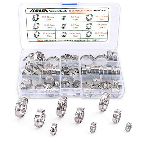 LOKMAN Stainless Steel Single Ear Hose Clamp, 80Pcs 6-23.6mm Crimp Hose Clamp Assortment Kit Ear Stepless Cinch Rings Crimp Pinch Fitting Tools (1/4 inch - 15/16 ()