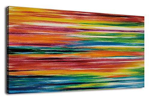 arteWOODS Large Canvas Wall Art Prints Strips Abstract Painting Panoramic Canvas Artwork Colorful Wall Decor for Home Office Decoration Framed Ready to Hang 24