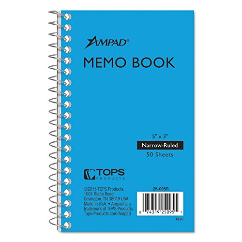 Ampad Wirebound Pocket Memo Book, College Rule, 5 x 3, White, 50 Sheets Per Pad, Assorted Colors - Ampad Memo Sheets