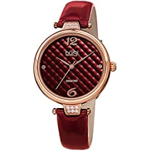 Burgi Leather Women's Watch - Glossy Leather Strap - Three Hand Movement with Diamond Markers - Onion Crown - Round Analog Quartz