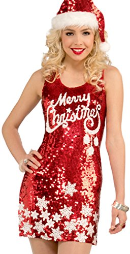 Holiday Adult Merry Costumes (Forum Novelties Women's Racy Sequin Merry Christmas Costume Dress, Red/White, One)