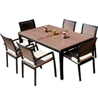 RST Outdoor OP-ALTS7-ZEN Dining Set Patio Furniture, 7-Piece by Red Star Traders - Lawn and Garden