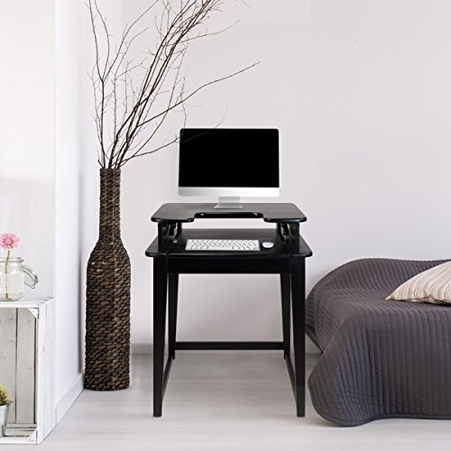 Contemporary Freestyle Stand-up or Sit Down Black Wood Desk by Contemporary