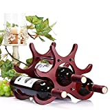 wavy wooden wine rack - Powstro Wine Rack, 6-Bottle Wooden Wine Bottle Holder Creative Red Wine Shelves