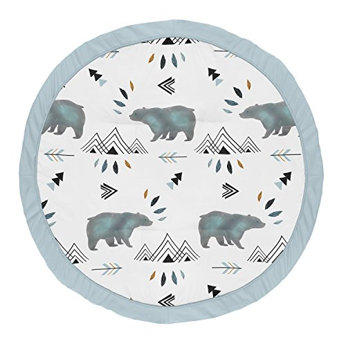 Sweet Jojo Designs Slate Blue Playmat Tummy Time Baby and Infant Play Mat for Bear Mountain Watercolor Collection (Bear Time Nursery)
