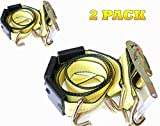 trailer hold down - DKG-304 Yellow Heavy Duty Double J Hook Wheel Strap with Ratchet - Over Tire Wire Hook Car Hauler Tie Down - Auto Transporter Trailer Strap with Steel Ratchet - Working Load Limit of 3330 LB (2 Pack)