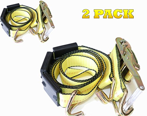 DKG-304 Yellow Heavy Duty Double J Hook Wheel Strap with Ratchet - Over Tire Wire Hook Car Hauler Tie Down - Auto Transporter Trailer Strap with Steel Ratchet - Working - Transporter Trailer