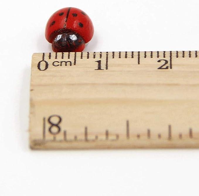 100X Mini Self Adhesive Wooden Ladybird Stick On Wood X1U9 Craft·Cards Bug J4V6
