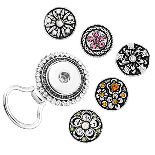 (MJartoria Interchangeable Flower Snap Buttons Centerpiece Rhinestone Eye Glass Holding Magnetic Brooch Pins )