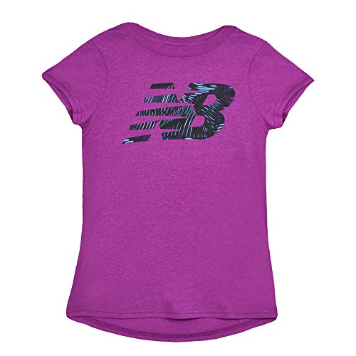 New Balance Kids Girls' Big Short Sleeve Graphic Tee, Poisonberry Heather, 10/12