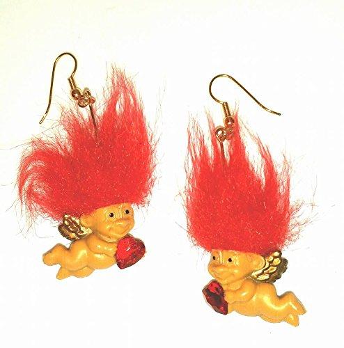 Valentine Cupid Troll Doll Earrings 1