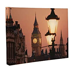 Clever Creations Big Ben Light Up Canvas Big Ben at Dusk Wall Art with Bright Color Changing LEDs | 16 x 12 Perfect Size for Home, Living Room, Office or Classroom | Battery Powered