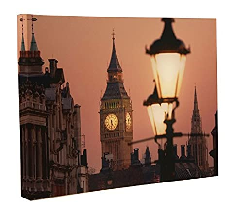 Big Ben Light Up Canvas by Clever Creations   Big Ben at Dusk Wall Art with Bright Color Changing LEDs   16