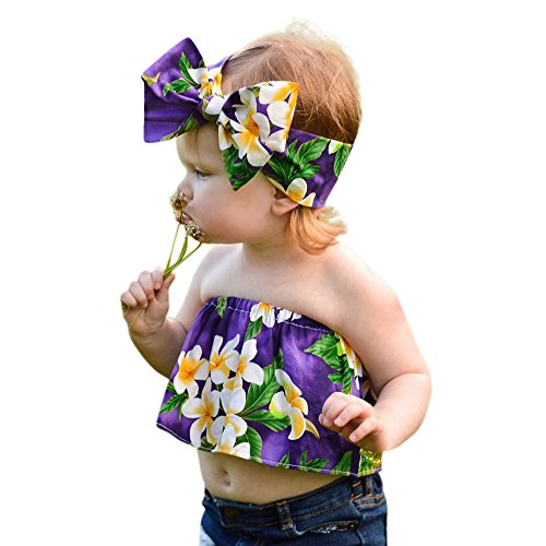 (WensLTD_ Clearance! Baby Girs Off Shouler Floral Tops Sunsuit Ruffle Outfits Clothes+Headband (24M, Purple))
