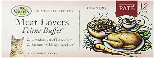 Homestyle Recipes, Meat Lovers Variety Pack, 12/3-Ounce Cans, 6-Grandma's Beef Casserole and 6-Savannah Chicken Crockpot, Pate, Grain Free Cat Food