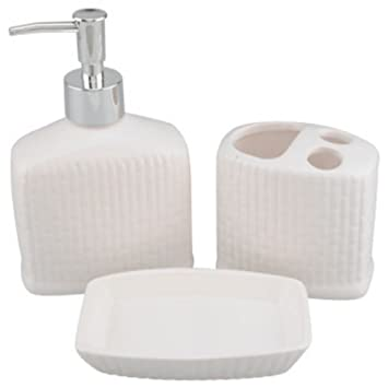 ribbed ceramic bath accessories set lotion soap dispensertoothbrush holder soap dish white