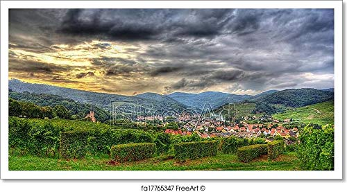 Barewalls View of Andlau Village in Vosges Mountains - Alsace, France Paper Print Wall Art (11in. x 21in.) (Abbey Road Vine)