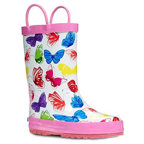 ZOOGS Children's Rubber Rain Boots, Little Kids & Toddler, Boys & Girls Patterns, White (Butterfly)
