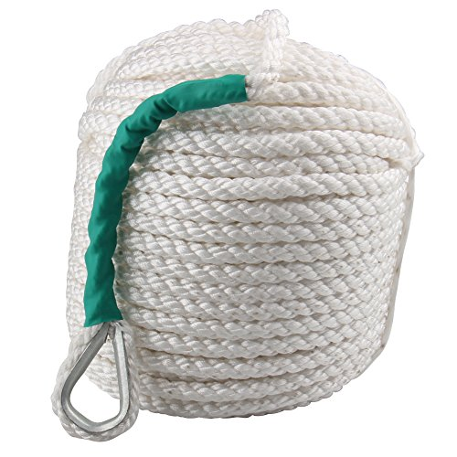 Bang4buck 1/2 Inch 100 Feet Nylon Docking Rope Three Strand Dockline Braided Anchor Line/Sailboat/Sled Line with Thimble and 5850LB Breaking Strain