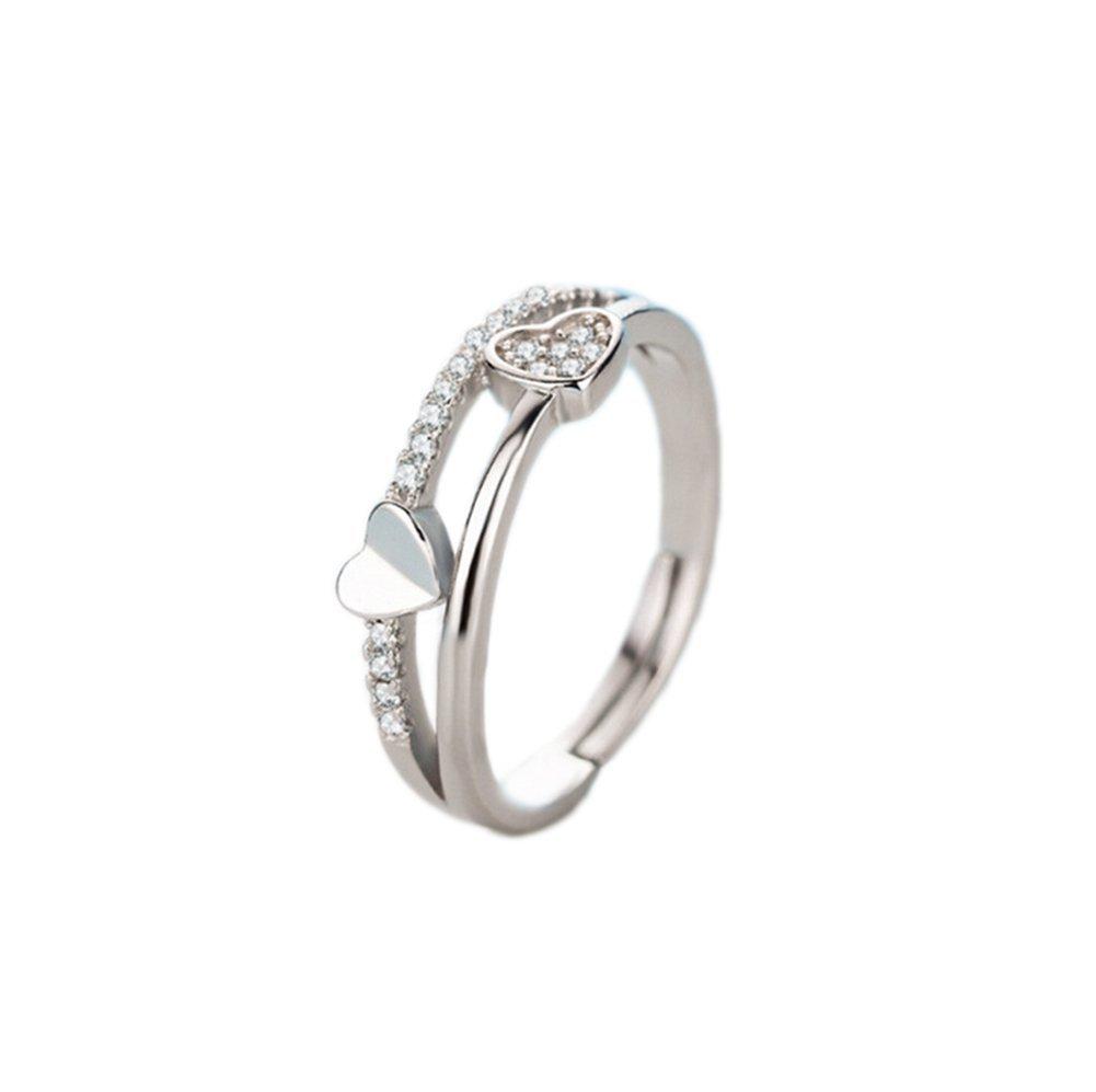 Westeng femmina anello aperto regolabile anello di diamanti artificiali di gioielli elegante dolce a forma di cuore in argento anello