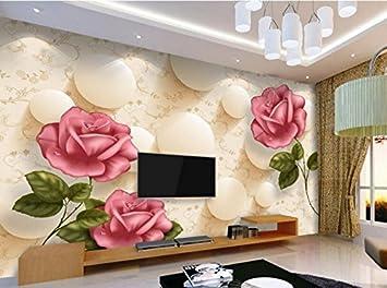 Yosot 3D Tapete Wohnzimmer Schlafzimmer Wandbild Abstrakt Rote Rose ...