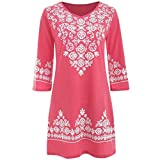 Gocheaper Women Casual Mini Dress Half Sleeve Ethnic Print V Neck Shirt (S, Pink)
