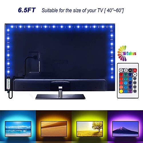 Led Strip Lights 6.56ft for 40-60in TV, Jayme USB LED TV Backlight Kit with Remote,16 Color Changing 5050 LEDs Bias Lighting for HDTV (2019 Upgraded)
