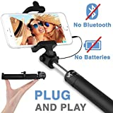 Voxkin Ultra Portable Wired Selfie Stick No Bluetooth Pairing - No Battery Charging Premium & Sturdy Design Best Pocket...