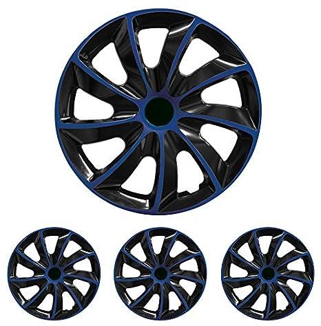 Tapacubos - Tapacubos Tapacubos QUAD Azul 16 pulgadas 16? R16 universal apto para casi todos los vehículos estándar con llantas de acero por ejemplo Daewoo: ...