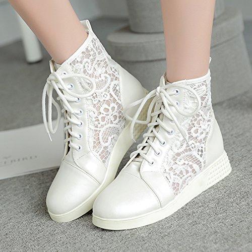 YE Damen Flache Ankle Boots Sommer Stiefel mit Schnürung und Spitze Bequem Elegant Sommer Schuhe Weiß